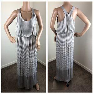 Gilli gray & white striped maxi dress